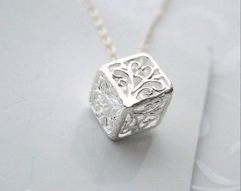 3D cube filigree, silver necklace - CUBE