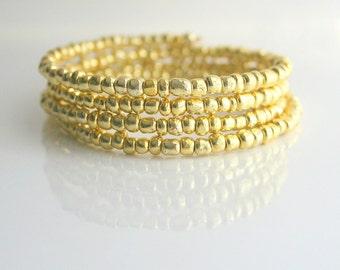 Gold bead bracelet - GOLDEN