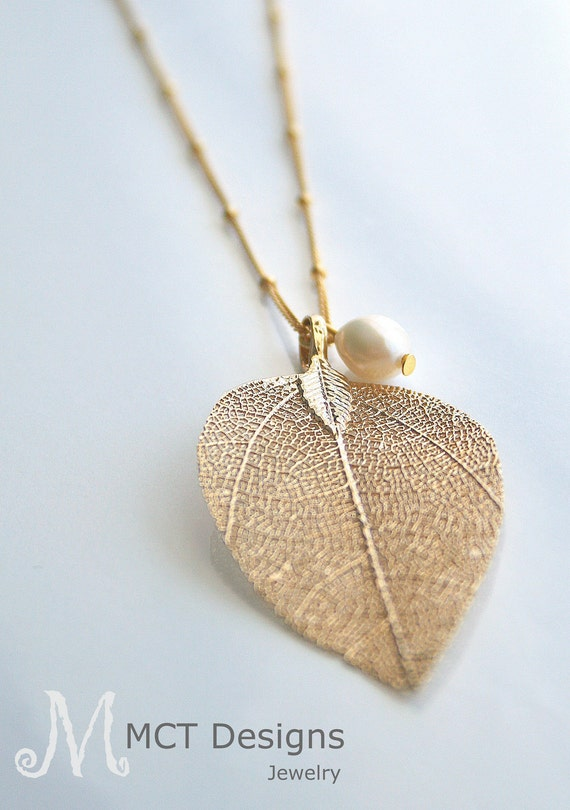 LONG, gold dipped leaf, pearl, layering, necklace - SOPHIE