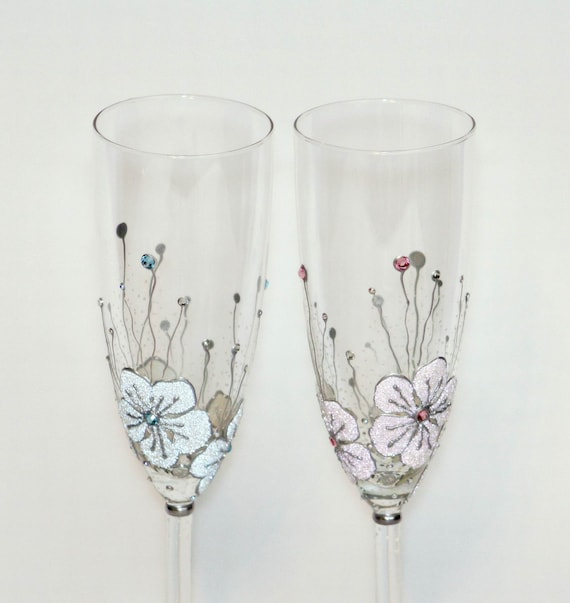 Wedding Glasses Toasting Flutes Hand Painted Light Pink Light