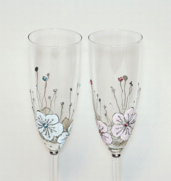 Wedding Glasses Toasting Flutes Hand Painted  Light Pink Light Blue Magic Flowers For her and For him