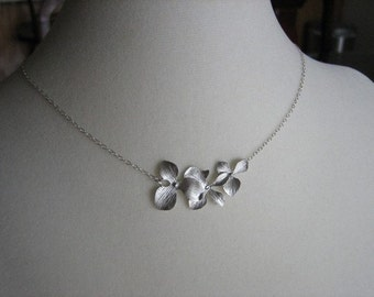 Orchid Flower Necklace , Available Gold & Silver , Wedding Jewelry , Bridesmaid Necklace , Choker Necklace , Spring Fall Wedding