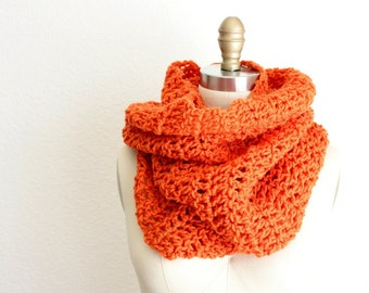Crocheted XL Tube Cowl in Orange/Pumpkin