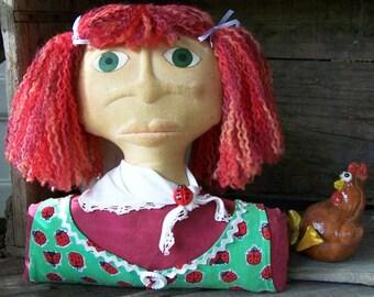 ANNIE Doll Shelf Sitter Ladybird Dress Cloth Sculptured Face, ON SALE, 40% off
