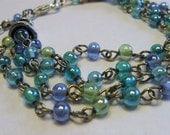 Glass Beaded Bracelet, Aqua, Blue, Green, Dreamy Ocean Colors, Comfortable Swivel Clasp, Fun, Funky, Gypsy