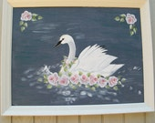 Swan Painting Shabby Chic Nursery Decor Pink Roses