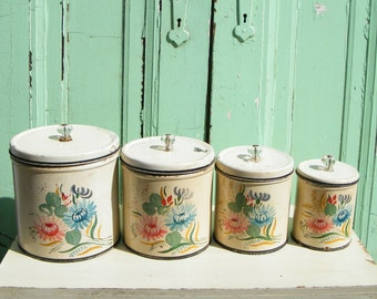 Vintage Canisters Set Ransburg Hand Painted with Glass Knobs