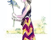 Original Figure Painting, fashion watercolor, ink, tropical, beach, red, purple, yellow, costume