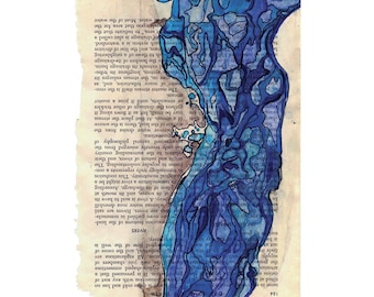 Watercolor print, topography art, blue abstract landscape, map inspired, Colonization: Rivers