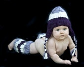 KNITTING PATTERN PDF file for Earflap Hat and Legwarmers for Baby