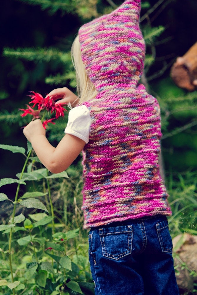 Knitted Hooded Vest Pattern : KNITTING PATTERN for Childs Hooded Vest for by AddiesmaDesigns