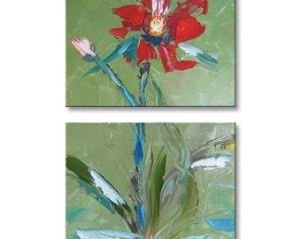 Bloom  FREE SHIPPING Original Oil Painting on Canvas Palette Knife - by SOLOMOON - fine art ready to hang impasto diptych painted sides