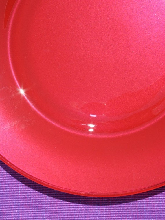 Glass Plates in Lipstick Red (Two Dinner Plates)