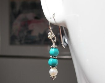 Classic Earrings of Turquoise and Pearls, Sterling Silver Spacers, Swing from Sterling Silver Earhooks, December Birthstone
