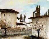 Italian watercolor landscape- Tuscan Rain- art print