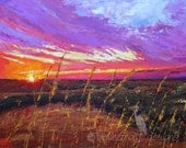 landscape painting- Sky Fire- 8x10 acrylic print matted to 11x14