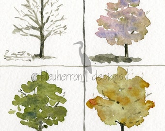 four seasons painting- A Tree's Clothes- watercolor art print