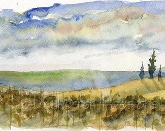 italian watercolor- Tuscan Dreamscape- panorama 4x12 watercolor print