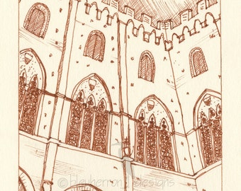 Italian Architecture sketch- Siena City Courtyard- art print