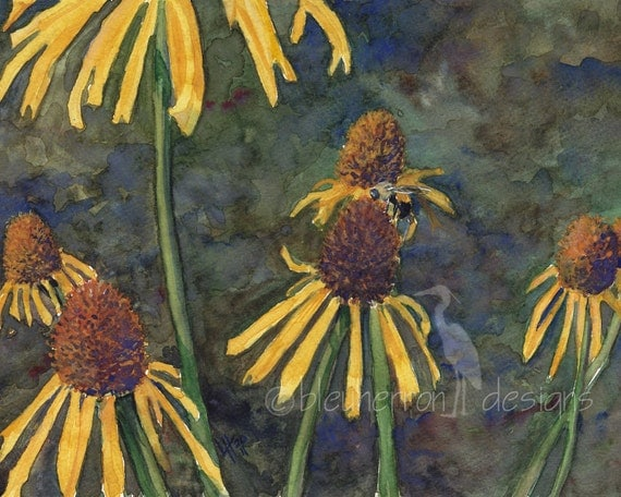 honey bee garden painting- Coneflower Visitor- watercolor art print