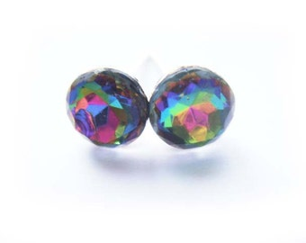 Very Rare Rainbow Vintage Crystal Earrings