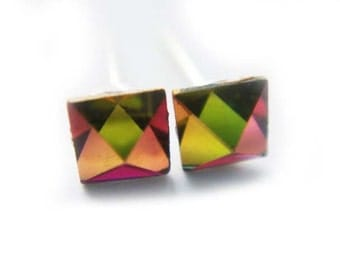 Rare Petite Vintage Swarovski Crystal Earrings Pyramid Square Rainbow 4mm