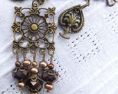 Lorelai's Rose and Chocolate Brown Pearl Necklace in Antique Brass OOAK