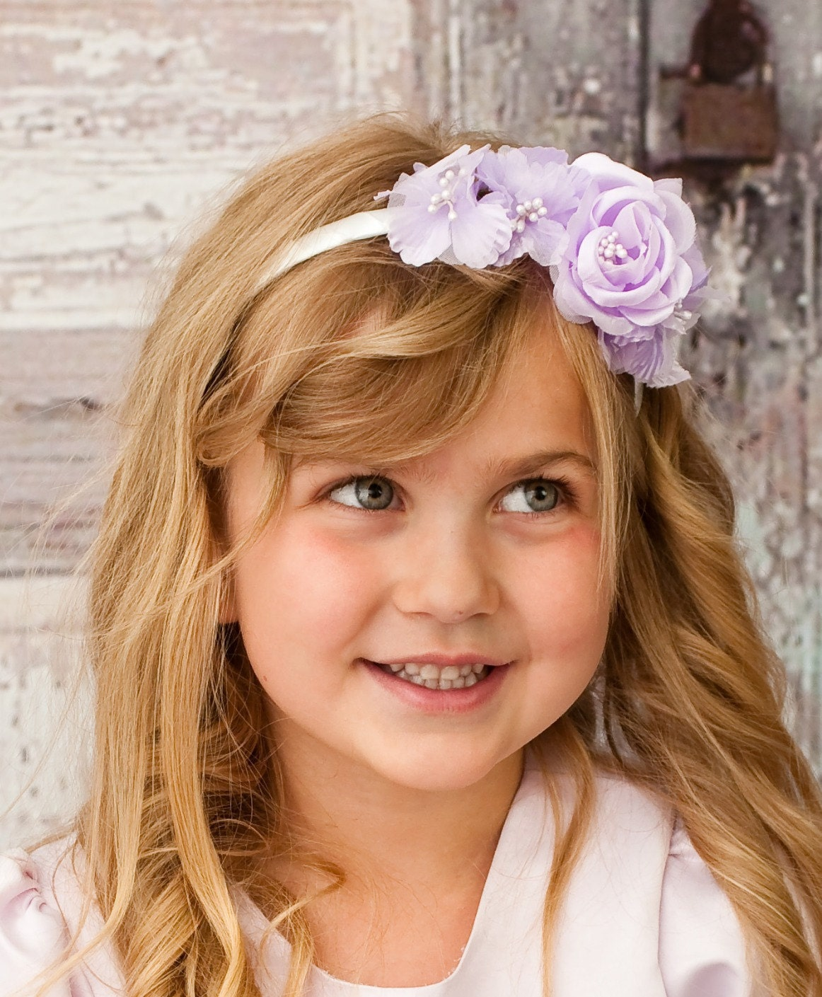 Items similar to Flower girl headband Lavender flower headband Wedding hair a