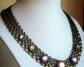 Brass Necklace with Frosted Glass Cabochons