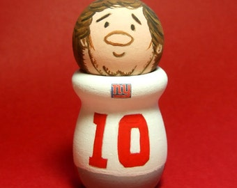 Eli Manning 10 Quarterback NY New York Giants Super Bowl Handmade Cake Topper Wood Figure - READY to SHIP