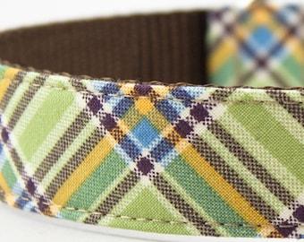 Pastel Green Plaid Dog Collar