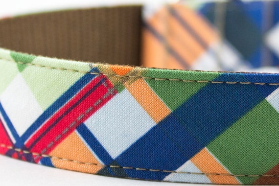 Nautical Patchwork Plaid Dog Collar