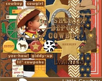 Little Cowboy - Cowboy and Western Digital Scrapbook Kit - Instant Download