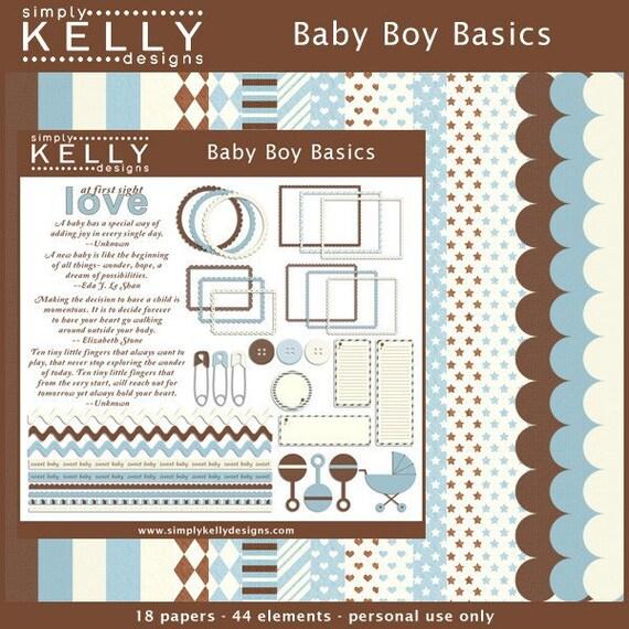 Baby Boy Basics Digital Scrapbook Kit - Instant Download