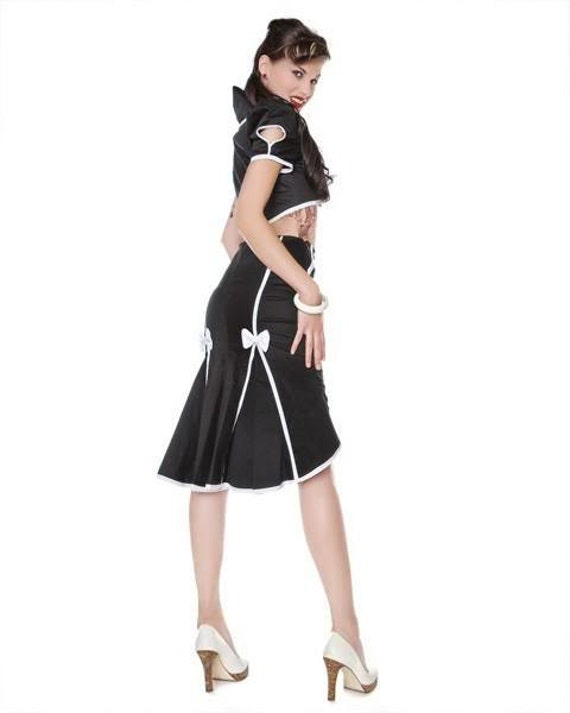 Cute, Black Pinup fishtail skirt with contrast seams and white bows. Buttoned wiggle skirt, Black and white skirt, Sizes XS-XL or custom