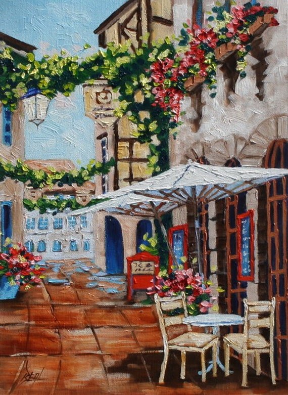 Art, Painting, Cafe Original Oil Painting, European Cafe Art, Landscape Painting, Painting on Canvas by Rebecca Beal