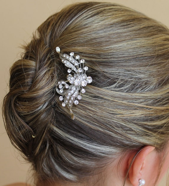 Crystal Flower Hair Comb, Wedding Hair Accessories, Bridal Crystal Hair Clip, Bridal Hair Clip ROSE