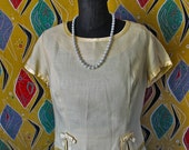 Vintage 60's Wiggle Dress Yellow Linen with Satin Bows Two Piece Set 1960's