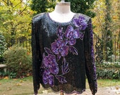 80's Sequin Top Purple Violets and Black Sequin and Beaded Long Sleeve Blouse