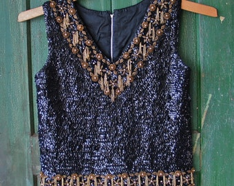 Top 1960's Black Sequined Gold Beaded Fringed Mad Men Shell size M