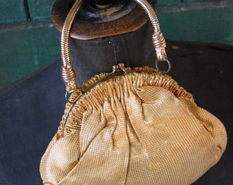 Gold 30's Pouch Purse Antique Gold Lame Fabric 1930's Evening Bag