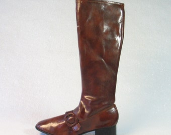 Groovy Brown Vinyl 60's/70's Boots with Buckle Made in Japan