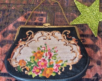 Czech Vintage Needlepoint Purse Romantic 1930's Petite Point Floral Handbag with Leather and Satin