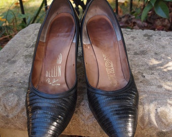 Shoes Black Reptile and Leather Packard-Rellin Mad Men Early 60's Pumps Marilyn Monroe