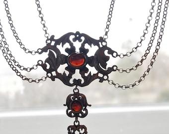 2 Piece Czech Edwardian Set-Necklace, Bracelet Set Demi Parure Sterling Silver and Genuine Garnet Festoon