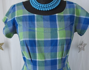 50's  Swing Dress Blue and Green Plaid Full Skirt Rockabilly Picnic 1950's