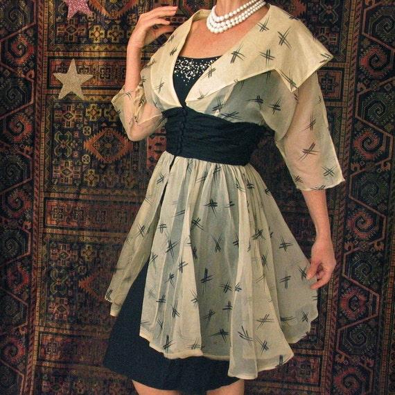 Molly Modes of New York 50's Sheer Silk Organza Over Dress