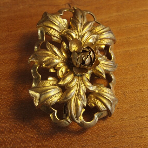 Reserved for Leah: Vintage 1910's Rose Brooch Czech Victorian Repousse Brass Sculptural Brooch