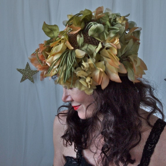 Vintage Christian dior Hat 50's, 60's Green Peach Yellow Silk Lilies and Foliage Flower Wood Nymph Hat