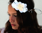 Flower Vine Crown Plaited with Silver Leaf Trim and White and Blush Hydrangea Blossoms